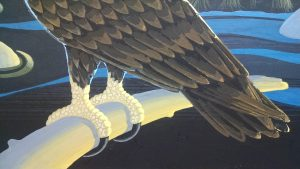 Painting talons on the Golden Eagle. Details of the talons.