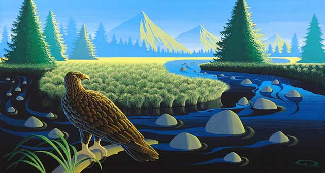 Golden Eagle In The Kodar Mountains Gouache Painting