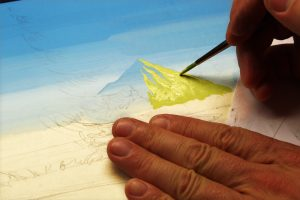 Painting Mountains on the Golden Eagle Painting