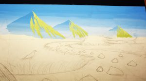 Painting Mountains on the Golden Eagle Painting. Finished the sunlight side of the mountains. After the sky has been painted, now we must replace the drawn lines that were painted over using our home made carbon paper.