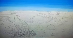 New painting of Golden Eagle Kodar Mountains Siberia. Here is the initial thumbnail sketch.