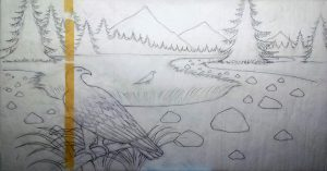 New painting of Golden Eagle Kodar Mountains Siberia. Here is the tracing paper with the full size drawing.