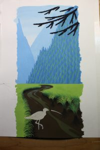 Painting Trees On A Gouache Painting Of A Curlew - At this stage of the painting, the mountains in the background are finished. I work on things that are distant first and work my way forward.