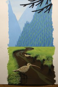 Painting Feathers and Grass on a Painting of a Curlew - Overall view of the painting with the recently completed feathers and grass.