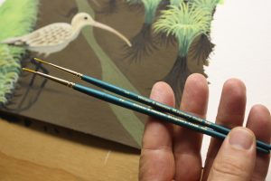 Painting Feathers and Grass on a Painting of a Curlew - Two of my most cherished liner brushes, the Windsor & Newton Regency Gold 540 Series #1 and #2 brushes.