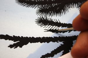 Finishing Touches on Curlew Painting - Painting the needles of the Siberian Fir tree using a liner.