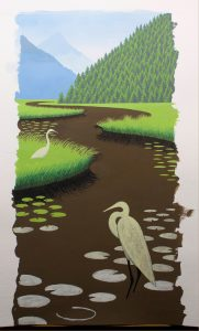 Beginning a Gouache Painting of Blue Herons and Lily Pads - The background is complete. Now working on the Blue Herons and the lily pads.