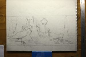 Wood Stork Water Lilies Pencil Sketch - Pencil drawing with tracing paper on top.
