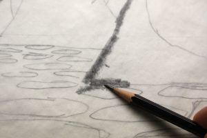 Wood Stork Water Lilies Pencil Sketch - Close up of shading the back of the drawing on the tracing paper.