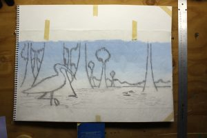 Wood Stork and Water Lilies Beginning The Painting - Hinged tracing paper in the down position showing the drawing overlaid on top of the painting.