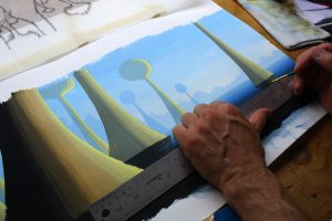 Painting a Gradient - Another view of painting a gradient using a liner, a 24 inch steel rule and gouache paint.