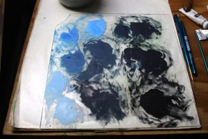 Here is the palette of water reflection colors. I will recycle one of the blues for the highlight shadow color.