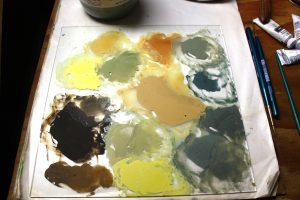 Here is our glass palette of tree bark colors.
