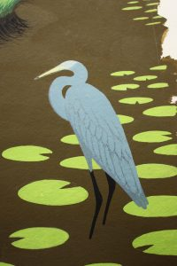 Here is the heron with the feathers drawn in pencil.