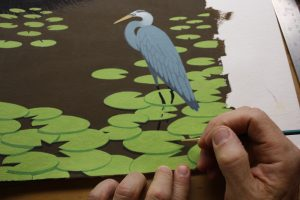 Painting the lily pad shadow.
