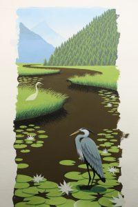 Here is the Great Blue Heron painting up to now. We will finish it in the next post or two.