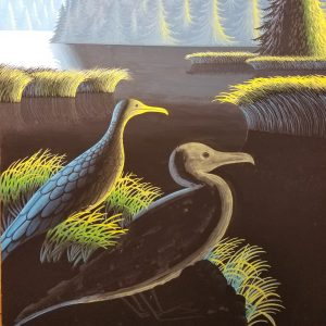 Painting feathers on a cormorant with a liner brush.