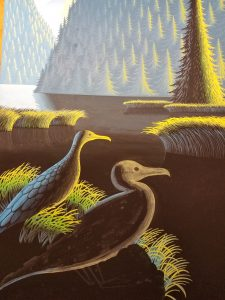 Painting feathers on a cormorant with a liner brush in gouache